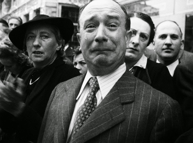 A Frenchman cries during the Nazi occupation in 1940.