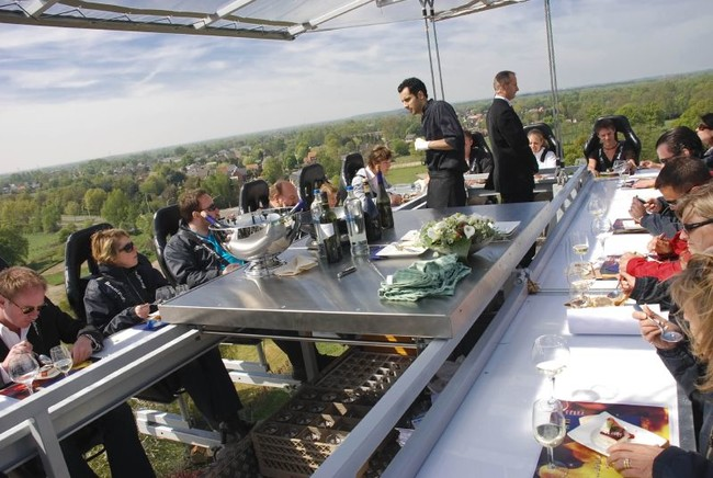 Dinner in the Sky lets adventurous eaters enjoy a multi-course dinner 150 feet in the air.