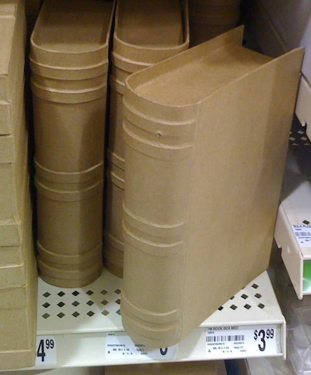 Craft stores like Michael's sell cardboard tomes you can customize and paint yourself.