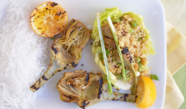 Vegan Grilled Artichoke and Quinoa Lettuce Wraps
