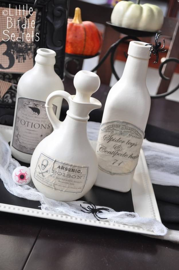 Use tea bags to age your printable potion labels.