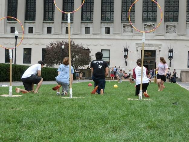 Spraypaint hula hoops and nail them to wood for a Quidditch match.
