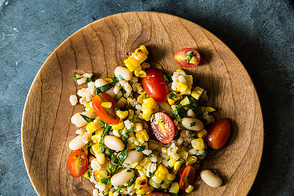 Grilled Corn and Barley Salad with Tomato Vinaigrette