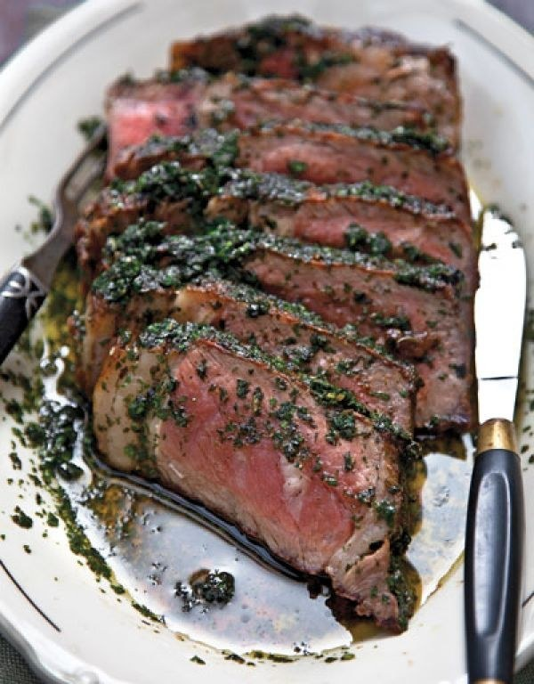 Grilled Steak with Herb Sauce