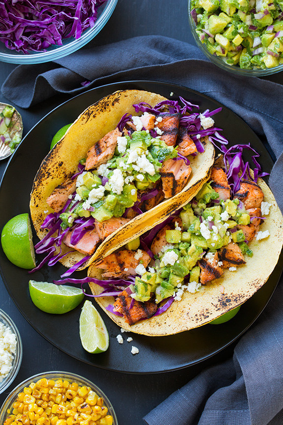 Grilled Salmon Tacos with Avocado Salsa