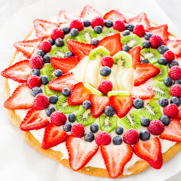 This fruit pizza with cream cheese frosting.