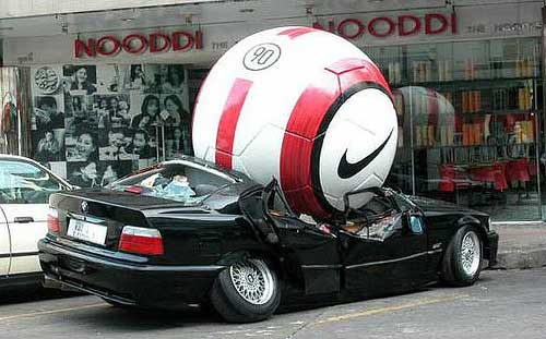 funny car accident soccer ball