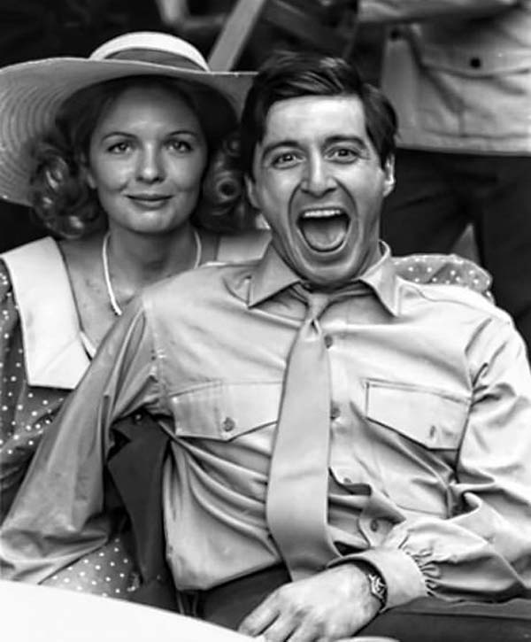 Diane Keaton and Al Pacino on The Godfather set (1972).