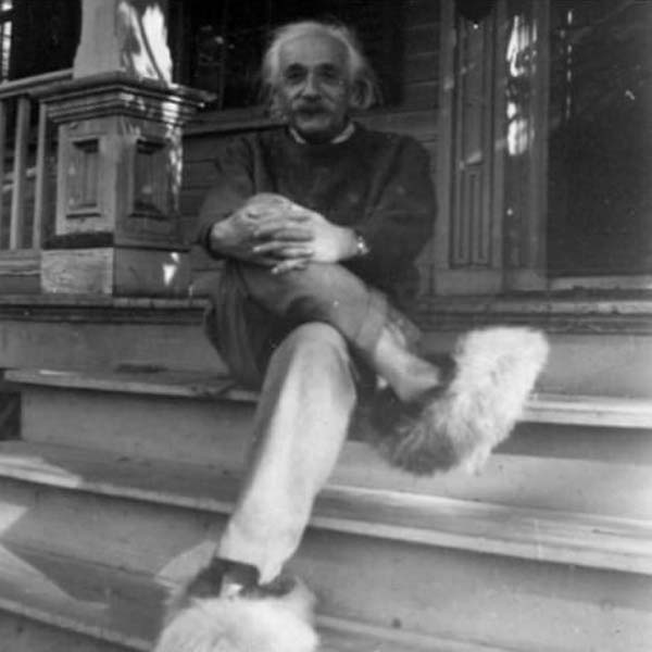Einstein and his furry shoes.