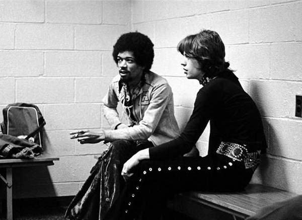 Jimi Hendrix and Mick Jagger (1969).