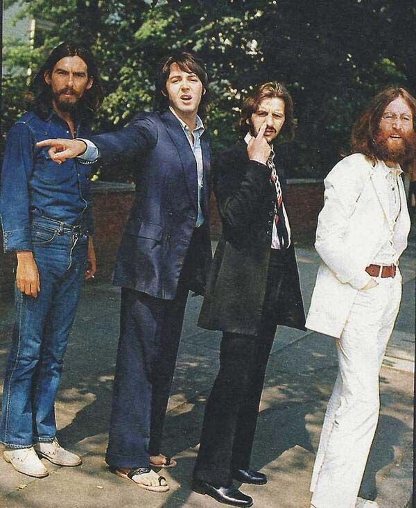 The Beatles before their iconic Abbey Road shot.