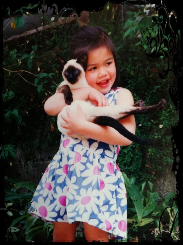 My Baby Girl With Our Siamese Kitten.