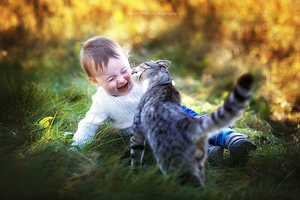 Cat Kissing A Child