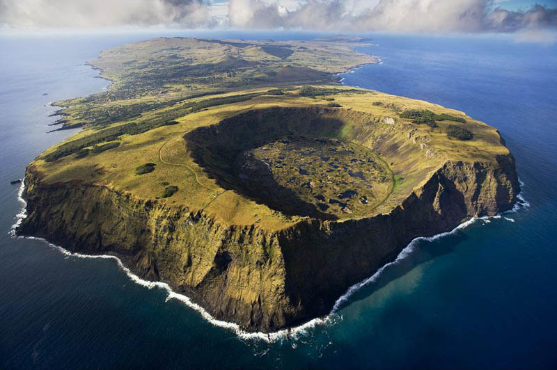 rano kau volcano in rapa nui national park easter island chile 25 Mind Blowing Aerial Photographs Around the World