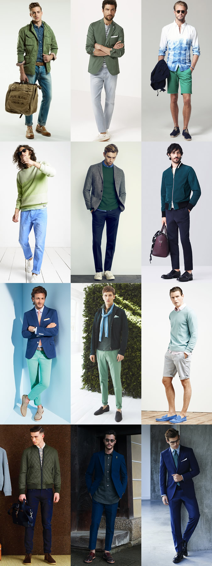 Men's Blue and Green Spring/Summer Outfit Inspiration Lookbook