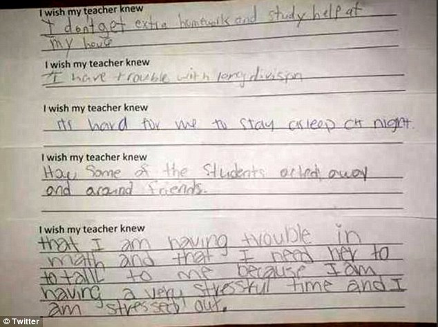 'It's hard to stay asleep at night': Rebecca Shoniker, a middle school teacher in North Carolina, shared these responses from her class on Twitter