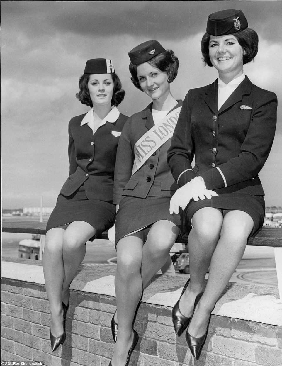 Pat Till Twa Air Hostess Who Was Voted Miss Heathrow Airport 1964 With 2nd Place (left) Christine Longthorp, 20, and Linda Stafford, 21