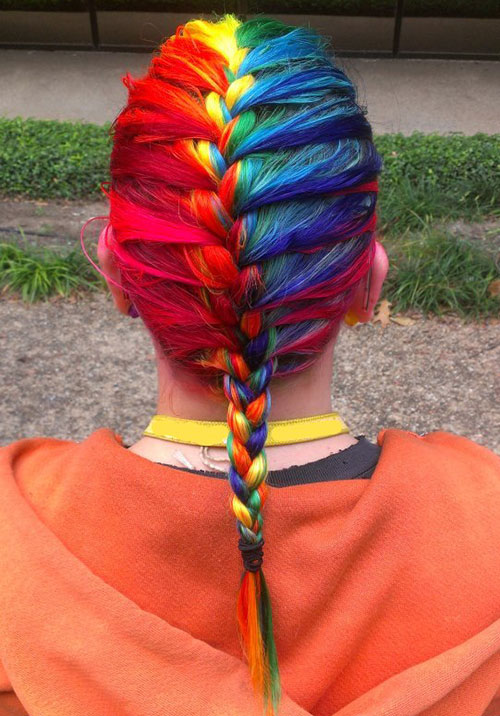 Colorful Braid for Medium Hair Length colored