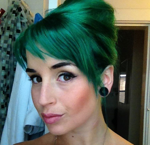 Green Updo Hairstyle colored