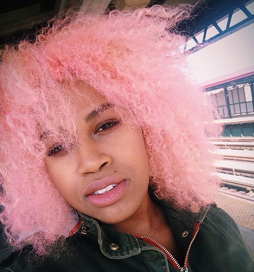 Light Pink Hairstyle for Black Women colored