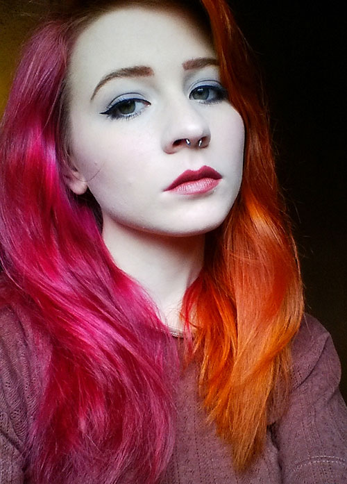 Medium Pink and Orange Hairstyle colored