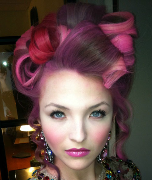 Pink Highlights Curly Updo colored