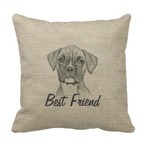 Awesome  adorable funny trendy boxer puppy dog throw pillows