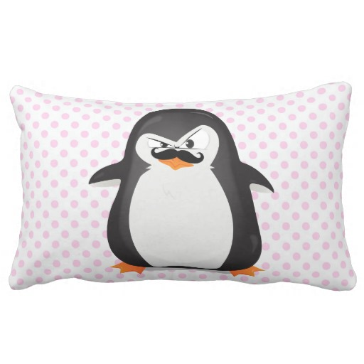 Cute Black White Penguin And Funny Mustache Throw Pillow