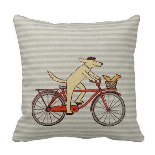 Cycling Dog with Squirrel Friend - Fun Animal Art Pillows