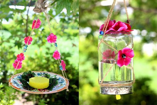 "Make <a href=""http://www.ehow.com/way_5484767_homemade-butterfly-feeder.html"" target=""_blank"">this pretty butterfly feeder</a> and watch the beautiful winged creatures flock."