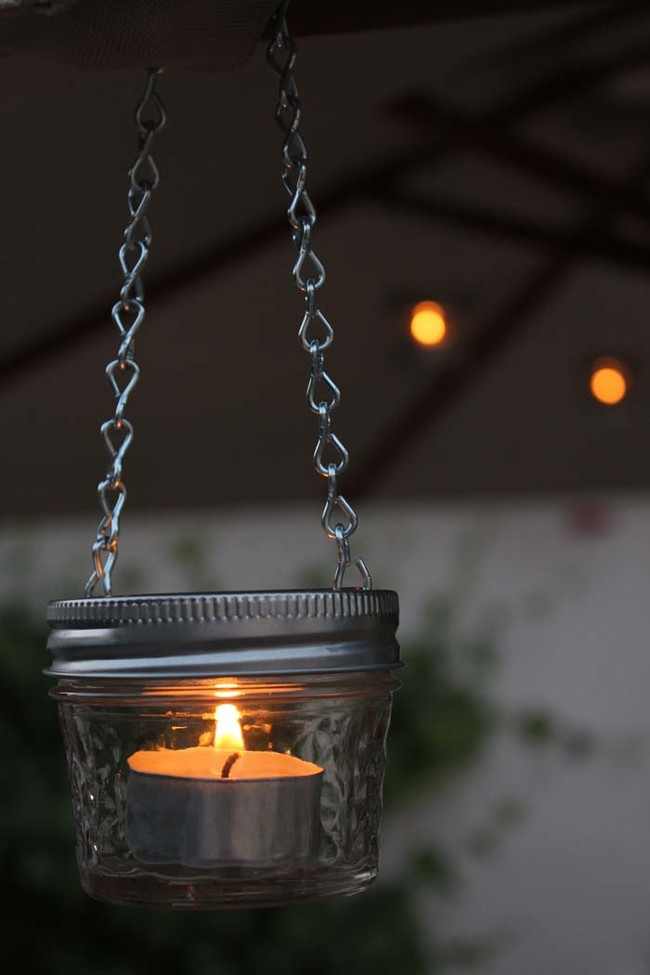 These mini mason jar lights add an ethereal vibe to any outdoor space.