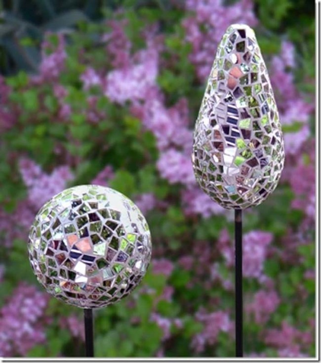 Or, cover garden balls in concrete and make them into pretty mosaic light reflectors.