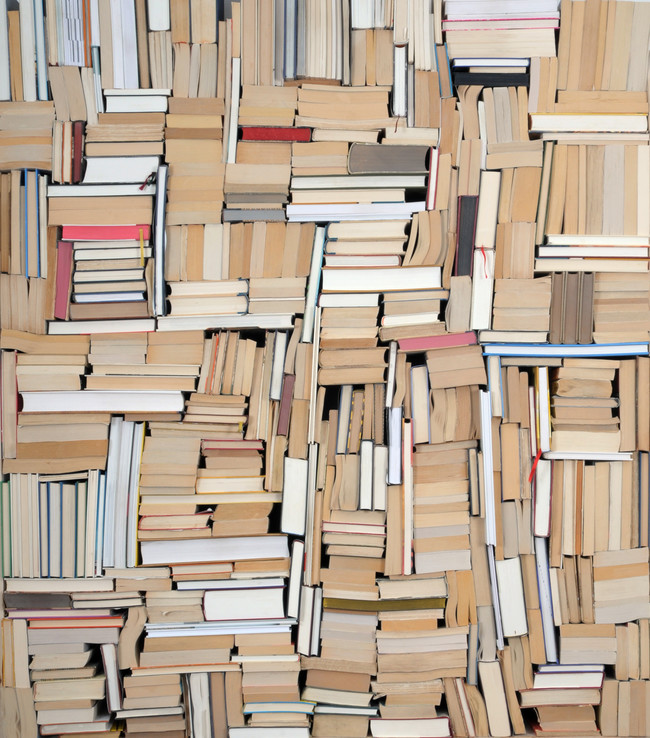 Another of Hesselberg's book pieces, and the abstract design the books create when stacked.