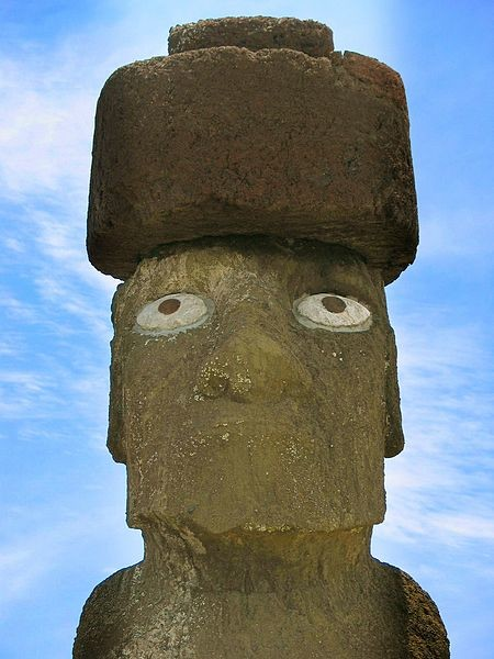 Some of the more recently built moai have these topknots, called <em>pukao</em>, which represented the topknot worn by chieftains.