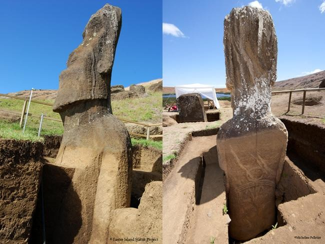 The digs have also exposed the carvings on the statue's backs. We don't know what they mean yet.