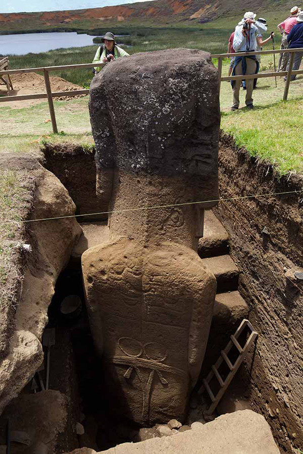 Sometime around 1500, construction of the moai stopped. The people's religion shifted, too, from ancestor worship to a religion that worshipped a half-man, half-bird figure.