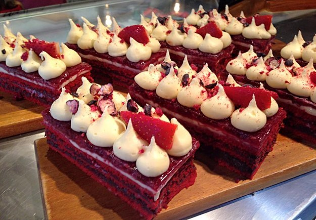 Of course, they offer more than just milkshakes — like this too-pretty-for-words red velvet slice.
