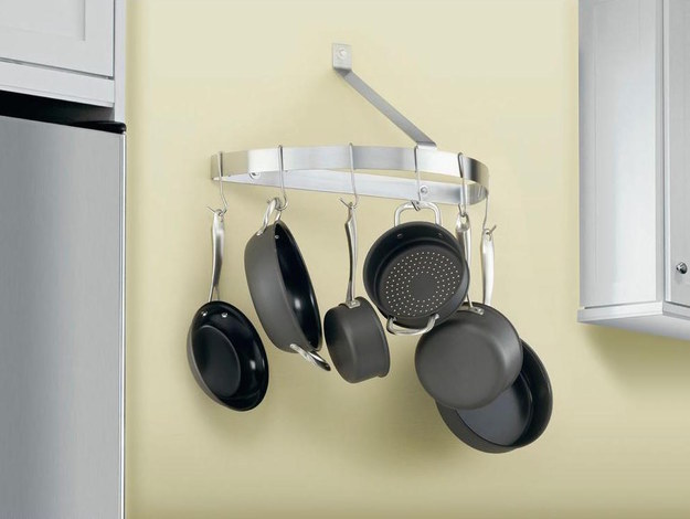 Hang pots and pans somewhere up high.