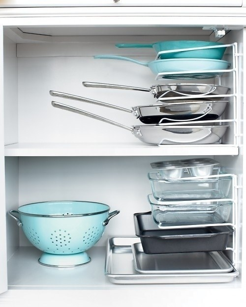 Make it easier to find the pan you need by stacking them using pan dividers.