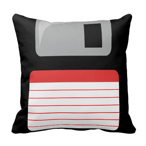 Floppy Disk Pillow - black, silver and red throw pillows