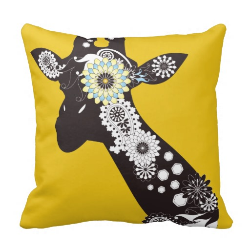 Funky Cool Paisley Giraffe Funny Yellow Pillows