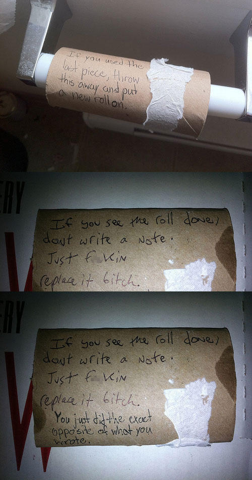 funny roommate note TP roll