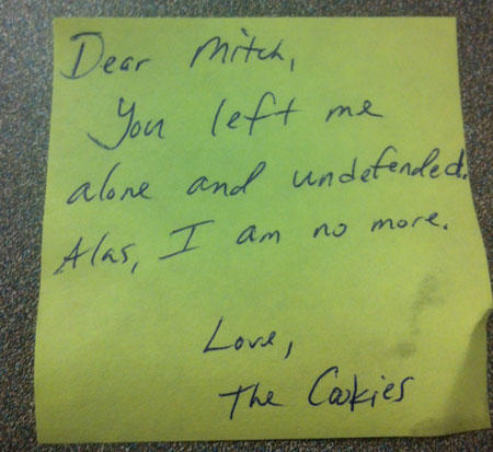 funny roommate note cookies