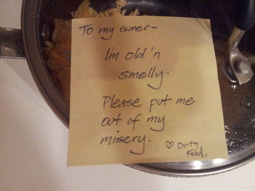funny roommate note dirty food