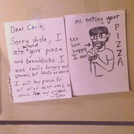 funny roommate note pizza drawing