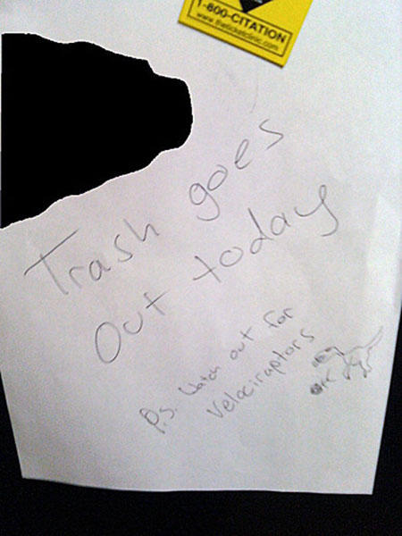 funny roommate note raptor