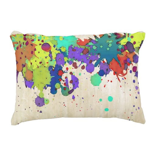 FUNNY COLOR SPLASH I + your ideas Accent Pillow