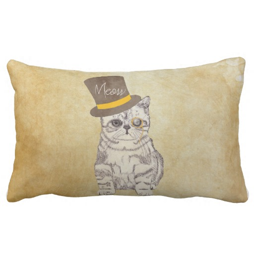Funny Cute Kitten Cat Sketch Monocle and Top Hat Throw Pillow