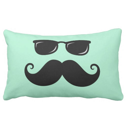 Funny mustache and sunglasses face mint green pillows