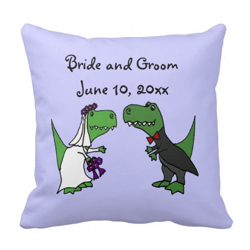 Funny T-rex Dinosaurs Bride and Groom Wedding Art Pillow
